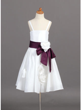 A-Line/Princess Straps Tea-length With Sash/Flower(s) Taffeta Flower Girl Dress