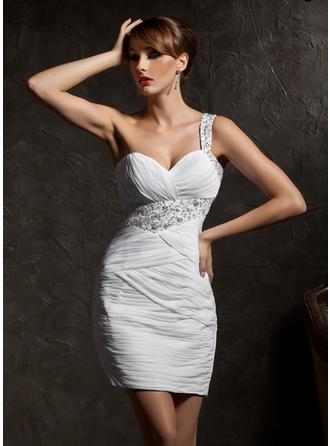 Sheath/Column One-Shoulder Short/Mini Chiffon Cocktail Dress With Ruffle Beading