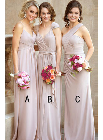 A-Line/Princess Sweetheart One-Shoulder V-neck Floor-Length Chiffon Bridesmaid Dress With Ruffle (007145066)