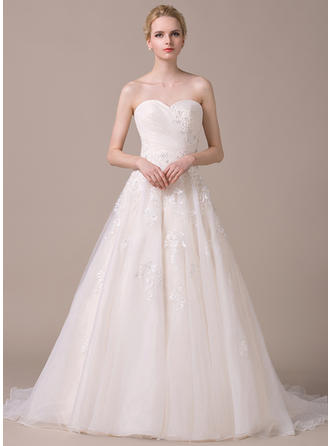 Sweetheart A-Line/Princess Wedding Dresses Organza Ruffle Beading Appliques Lace Sequins Bow(s) Sleeveless Court Train