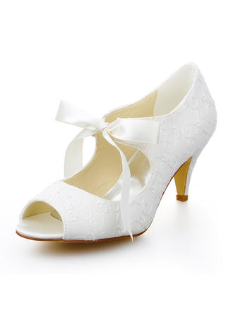 Women's Peep Toe Pumps Kitten Heel Satin With Ribbon Tie Wedding Shoes