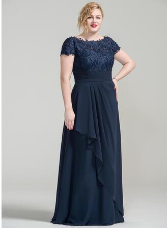 A-Linie/Princess-Linie Off-the-Schulter Bodenlang Chiffon Spitze Kleid für die Brautmutter mit Gestufte Rüschen