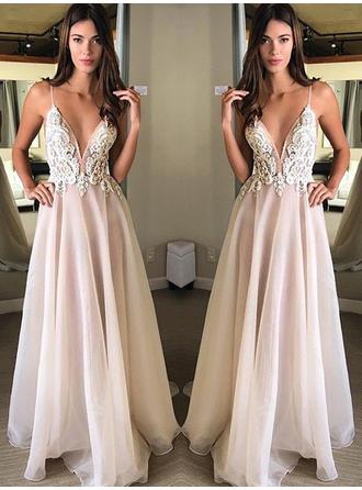 Sleeveless A-Line/Princess Prom Dresses V-neck Appliques Lace Floor-Length
