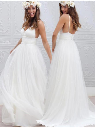 Delicate Sweep Train A-Line/Princess Wedding Dresses Deep V Neck Tulle Sleeveless
