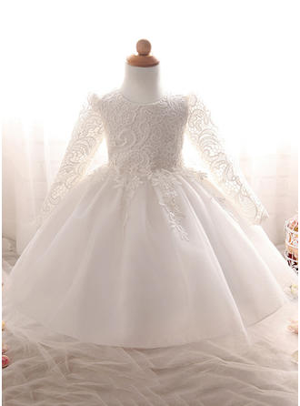 Tulle Scoop Neck Lace Baby Girl's Christening Gowns With Long Sleeves