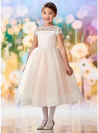 Forme Princesse Col rond Longueur mollet Tulle Manches courtes Robes de demoiselle d'honneur - fillette