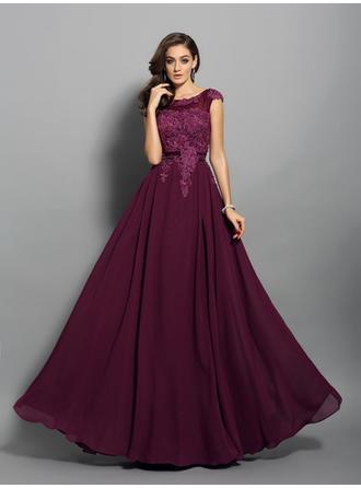 Sleeveless A-Line/Princess Prom Dresses Scoop Neck Appliques Lace Floor-Length