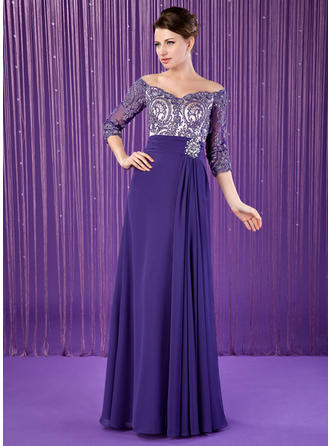 A-Line/Princess Chiffon 3/4 Sleeves Off-the-Shoulder Floor-Length Zipper Up Mother of the Bride Dresses