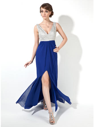 Chiffon Sleeveless A-Line/Princess Prom Dresses V-neck Beading Sequins Split Front Floor-Length