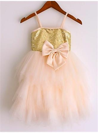 Magnificent Knee-length A-Line/Princess Flower Girl Dresses Straps Tulle/Sequined Sleeveless