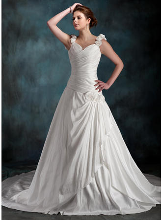 Magnificent Chapel Train A-Line/Princess Wedding Dresses Sweetheart Taffeta Sleeveless