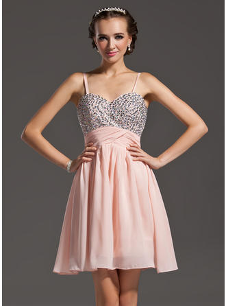 A-Line/Princess Sweetheart Short/Mini Chiffon Homecoming Dresses With Beading