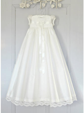 Scoop Neck A-Line/Princess Flower Girl Dresses Tulle Lace Short Sleeves Ankle-length (010216581)