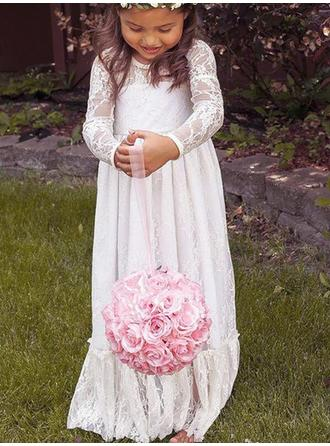 Fashion Floor-length Empire Flower Girl Dresses Scoop Neck Lace Long Sleeves (010145254)