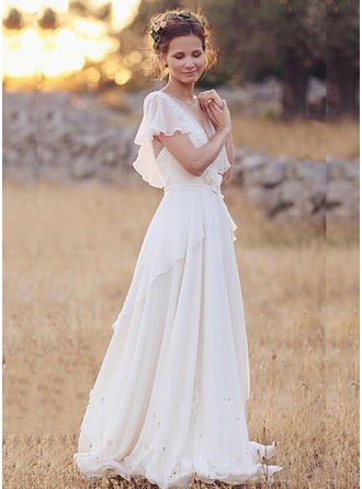 Chic Chiffon Wedding Dresses A-Line/Princess Floor-Length V-neck Short Sleeves