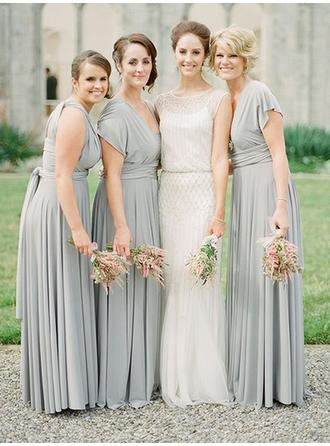 A-Line/Princess Chiffon Bridesmaid Dresses Ruffle Sash V-neck Short Sleeves Floor-Length