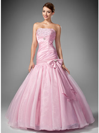 Taffeta Organza Sleeveless Trumpet/Mermaid Prom Dresses Strapless Ruffle Beading Sequins Bow(s) Floor-Length