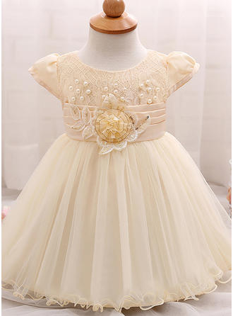 Tulle Scoop Neck Beading Baby Girl's Christening Gowns With Short Sleeves