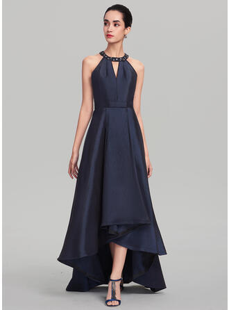 A-Line Scoop Neck Asymmetrical Taffeta Evening Dress With Beading Sequins