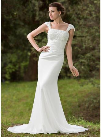 シフォン キャップ・ストラップ コート・トレーン Gorgeous ウエディングドレス (002001702)