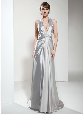 Charmeuse ホルター Aライン/プリンセスライン2 袖なし Simple イブニングドレス (017020665)