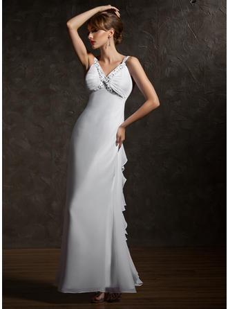 Vネック シフォン くるぶし丈 イブニングドレス 袖なし (017020735)