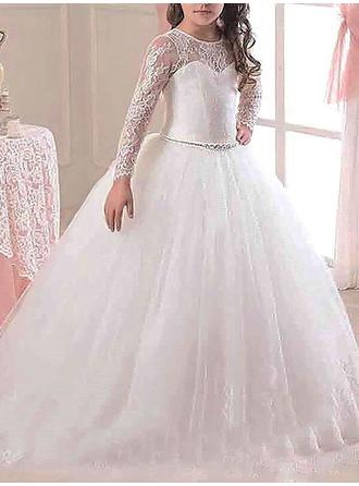 Duchesse-Linie U-Ausschnitt Sweep/Pinsel zug mit Perlstickerei Tüll/Lace Blumenmädchenkleider
