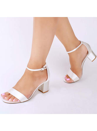 Women's Peep Toe Sandals Chunky Heel Satin With Buckle Wedding Shoes (047209701)