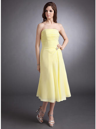 A-Line/Princess Strapless Tea-Length Chiffon Bridesmaid Dress With Ruffle Crystal Brooch