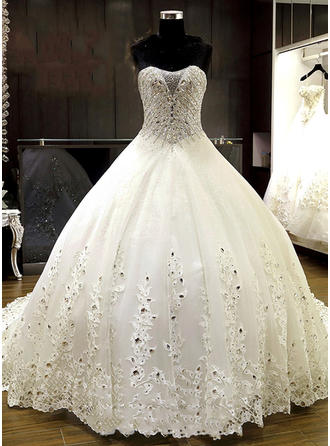 Ball-Gown Sweetheart Court Train Wedding Dress With Lace Beading Appliques Lace Sequins