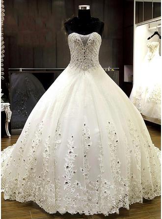 Платье для Балла Церемониальный шлейф Свадебные Платье с Кружева развальцовка аппликации кружева блестки