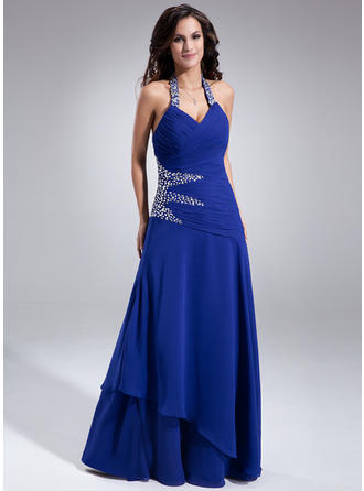 A-Line/Princess Chiffon Sleeveless Halter Floor-Length Lace Up Mother of the Bride Dresses