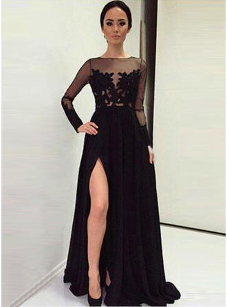 A-Line/Princess Scoop Neck Satin Long Sleeves Sweep Train Split Front Evening Dresses