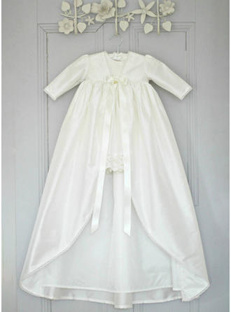 Satin V-neck Lace Baby Girl's Christening Gowns With 3/4 Sleeves