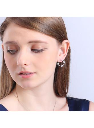 Earrings Copper/Zircon/925 Sterling Silver/Imitation Pearls Pierced Ladies' Shining Wedding & Party Jewelry