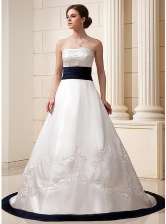 A-Line/Princess Strapless Chapel Train Satin Wedding Dress With Embroidered Sash Beading