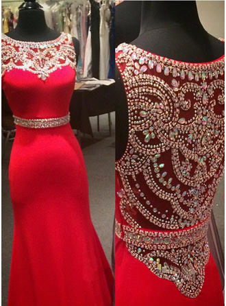 Jersey Sleeveless Trumpet/Mermaid Prom Dresses Scoop Neck Beading Floor-Length