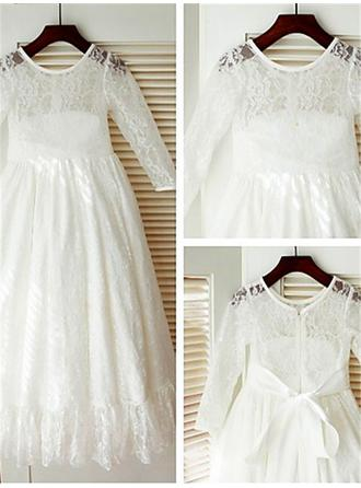Scoop Neck A-Line/Princess Flower Girl Dresses Lace Bow(s) Long Sleeves Ankle-length