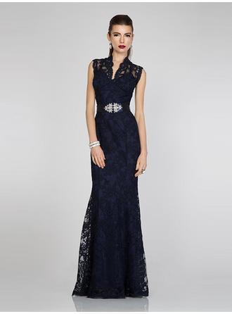 Sheath/Column V-neck Floor-Length Evening Dresses With Lace Sash Crystal Brooch Bow(s)