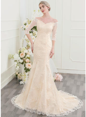 Lace Trumpet/Mermaid With Magnificent General Plus Wedding Dresses