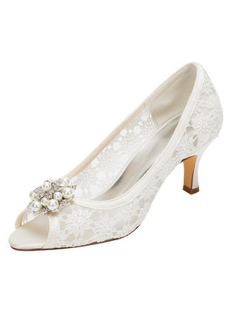 Women's Peep Toe Pumps Stiletto Heel Silk Like Satin With Flower Wedding Shoes