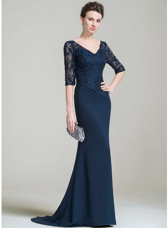 Chiffon 1/2 Sleeves Mother of the Bride Dresses V-neck Trumpet/Mermaid Beading Appliques Lace Sequins Sweep Train