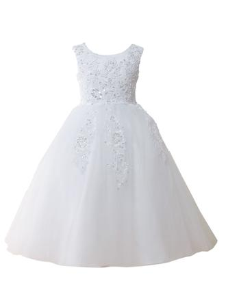 A-Line/Princess/Ball Gown Scoop Neck Floor-length With Lace/Sequins Tulle Flower Girl Dress (010146827)