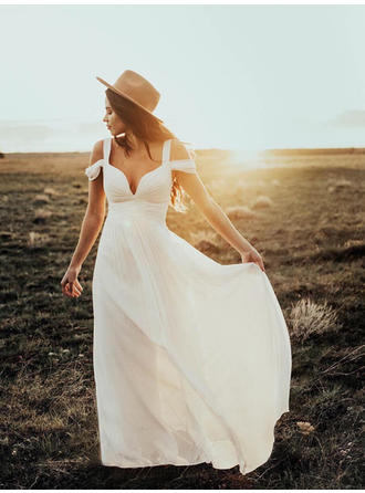 Elegant Floor-Length A-Line/Princess Wedding Dresses Off-The-Shoulder Chiffon Sleeveless