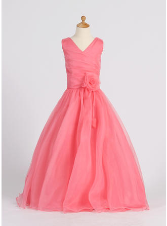 A-Line/Princess V-neck Floor-length With Flower(s) Organza Flower Girl Dress