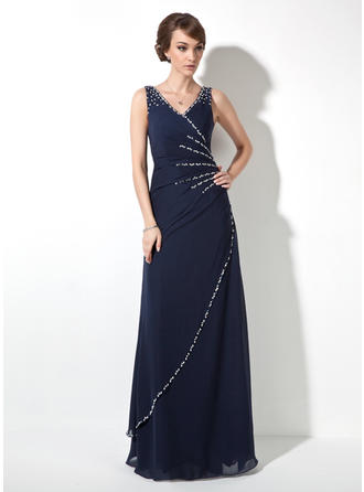 A-Line/Princess V-neck Floor-Length Evening Dress With Ruffle Beading Sequins