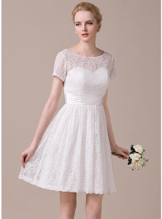 Scoop A-Line/Princess Wedding Dresses Lace Ruffle Short Sleeves Knee-Length