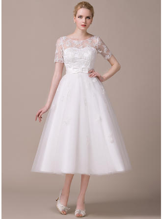 Short Sleeves General Plus Scoop Neck With Tulle Wedding Dresses