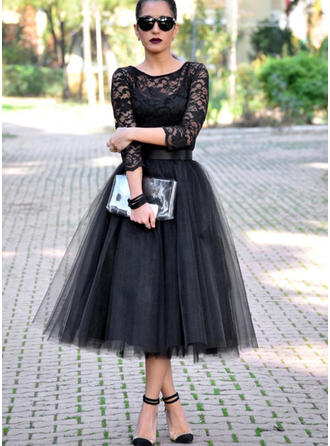 A-Line/Princess Scoop Neck Tulle 3/4 Sleeves Tea-Length Evening Dresses
