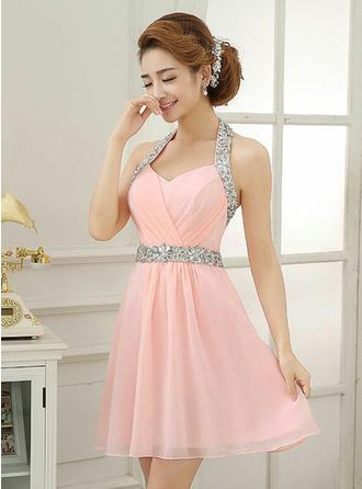 A-Line/Princess Halter Short/Mini Evening Dress With Ruffle Beading Sequins